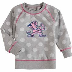 ec6057c62 Notre Dame Fighting Irish Wes & Willy Girls Toddler Polka Dot French Terry  Pullover Fleece Sweatshirt - Heathered Gray