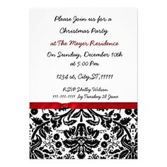 trendy damask Holiday party Invitation  Click on photo to purchase. Check out all current coupon offers and save! http://www.zazzle.com/coupons?rf=238785193994622463&tc=pin