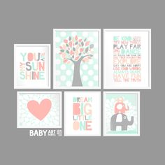 Light Peach, Light coral, Mint, Grey Nursery art prints, Set of 6, Tree, You are my sunshine, Dream Big, Elephant, Heart ( NPHOMIX002 ) by babyartprints on Etsy https://www.etsy.com/listing/197468532/light-peach-light-coral-mint-grey