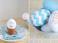 "chevron eggs and mini terra cotta pot ""egg cups"""