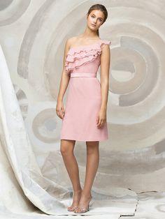 Gorgeous A-line One Shoulder Knee Length Chiffon Pink Bridesmaid Dresses Under 100 BD-1207