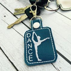 New to babymoon on Etsy: Dancer Dance Girl Ballerina Blue with white stitching Keychain Gift Keyring Zipper Pull Bag Tag Pleather Accessory (9.99 USD)