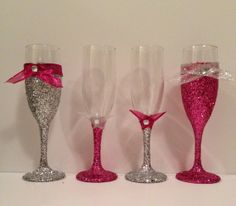 Wedding Champagne Glass Champagne Flute by theBrunetteMixer, $35.00