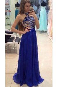 Sale Royal Blue Prom Evening Dress Magnificent Long Evening Dresses With Chiffon A-line/Princess Backless Sequin Dresses WF02G52-417