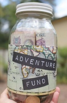 Glass piggy bank to start saving for Travel Custom glass money jar makes a great travel holiday gift handmade travel vacation jar