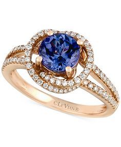 Le Vian Tanzanite (1-1/5 ct. t.w.) and Diamond (3/8 ct. t.w.) Ring in 14k Rose Gold - Le Vian Shop - Jewelry & Watches - Macy's