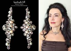 """Earrings """"Queen's Magnificence"""" collection with Pearls & Gold Silver Brown Swarovski Crystals. Wedding Bridal Bridesmaid Prom Party Jewelry."""