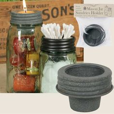 Mason Jar Cup Lid Sundries Holder Votives and More-Mason Jar Lid, CTW Home, Colonial Tin Works, Mason Jar Sundries Holder