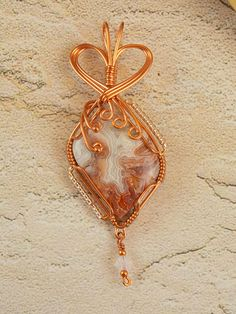 Crazy Lace Agate Copper Wire Wrapped Pendant