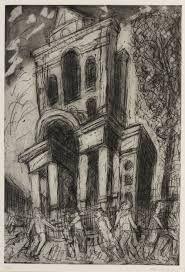 Leon Kossoff - Christ Church, Spitalfields, Spring -- Etching, Contemporary Art by Leon Kossof Landscape Prints, Landscape Art, Urban Landscape, Leon Kossoff, Charcoal Art, Collage Art Mixed Media, House Drawing, Art For Art Sake, Public Art