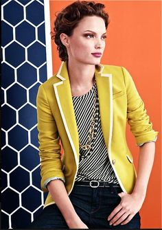 Like the blazer (assuming in soft summer colors & correct length) paired w/ diagnol stripe shirt.  Not fan of necklace lengths & shine. Banana Republic - Blazer and top