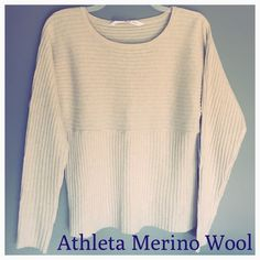 "❤️ Gorgeous Cream Athleta 100% Merino Extra Fine❤️ One DayAmazing Athleta Extra Fine Merino Wool Sweater, Never Worn a Return to store Tags on. Measurements- Shoulder to Hem 22"", Sleeve 22"" Circumference 34"". Super Cute and Soft Sweater, Wash + Dry at home❌Ends 2/15/16 Athleta Sweaters Crew & Scoop Necks"