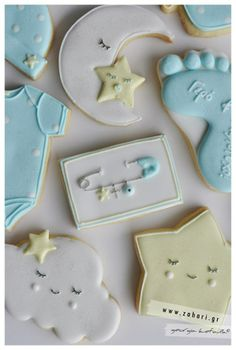 Decorated Pastel Royal Icing Baby Boy Theme Cookies.