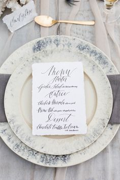 Menu and elegant beach wedding place setting | KAngell Photography