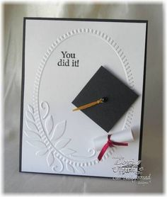 Embossing Folder Graduation Card. Personalize an elegant graduation card for the graduate with embossing folder cardstock with elegant wreath and embroidery floss. Add the rolled paper diploma for more decorations to add up its charm.
