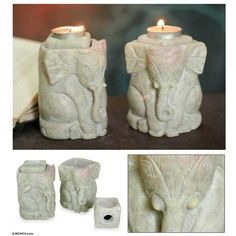 NOVICA Natural Soapstone Hand Carved Candle Holders (Pair) ($60) ❤ liked on Polyvore featuring home, home decor, candles & candleholders, beige, candleholders, candles & lighting, candle stick holders, elephant candle holder, elephant sculpture and novica