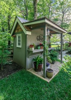 Related posts: 55 Wonderful Pergola Patio Design Ideas 37 On a Budget DIY Projects Pallet Garden Design Ideas 30 Brilliant Small Garden Shed Storage Ideas Top 7 Most Stunning Flower Bed Design Ideas for Your Front Yard Backyard Sheds, Outdoor Sheds, Backyard Landscaping, Garden Sheds, Garden Shed Roof Ideas, Small Outdoor Shed, Diy Garden, Landscaping Design, Backyard Patio