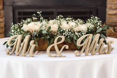 Sweetheart Table Decor - Mr and Mrs sign - Wooden Wedding Signs - Free Standing Letters - Top Table Sign - Wedding Centerpiece - Gold Silver Wedding Reception Centerpieces, Wedding Table Centerpieces, Wedding Flower Arrangements, Flower Centerpieces, Wedding Decorations, Table Wedding, Centerpiece Ideas, Wedding Ceremony, Church Wedding