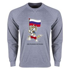 Russia 2018 FIFA World Cup Russia™ Mascot Flag LS Crew Fleece (Grey)