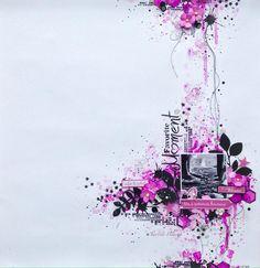 Magnifique page freestyle de Tartine peluche pour la boutique Graffiti'Girl rose et noir  pochoir émotion, fleur, branche, hexagones , peinture, encre, tâche, patouille