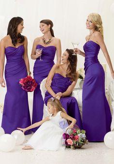 brides maid dresses purple