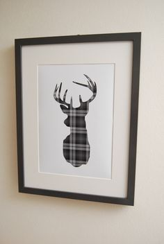 Cute idea to add more subtle plaid. Could use this idea for any silhouette in any tartan.cut large as you can on cricut from plaid paper and frame! New Living Room, My New Room, Living Room Decor, Bedroom Decor, Tartan Crafts, Tartan Decor, Cerf Design, Scottish Decor, Decoration Entree