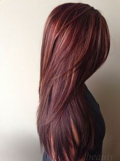long layered v cut haircuts back view - Google Search