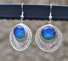 Opal and Sterling Silver Dangle Earrings Cradled Earth