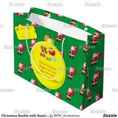 Christmas Bauble with Santa's & Sleigh Large Gift Bag