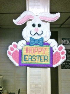 Easter Bunny Wall Hanging Plastic Canvas Needlepoint on Etsy, $15.00