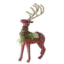 Northlight in. Holiday Moments Red Plaid Standing Stuffed Reindeer Christmas - The Home Depot Silver Christmas Decorations, Christmas Themes, Holiday Decor, Holiday Ideas, Christmas Crafts, Plaid Christmas, Reindeer Christmas, Rustic Christmas, Merry Christmas
