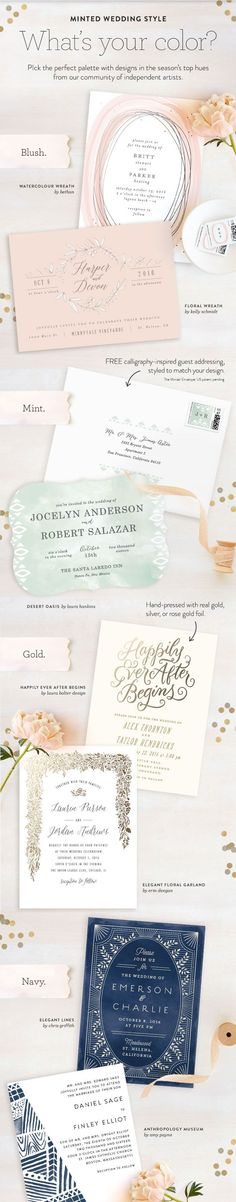 What are your wedding theme colors? Match your wedding colors to your stationery with unique designs from Minted's community of artists.