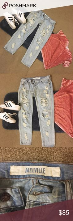 🎉HP🎉Brandy Melville Boyfriend Distressed Jeans 🎉HOST PICK 🎉 WEEKEND WANDERLUST PARTY🎉3/12/17🎉  Worn a couple times buy sadly I've gained weight. Love these babies!!! AUTHENTIC Brandy Melville purchased from Pac Sun! Perfectly distressed and REALLY SOFT and comfortable. Open to trade for select items. Any questions just ask! 😍☺️💕🛍🎉 Brandy Melville Jeans Boyfriend