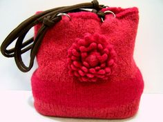 Bright and happy cherry red and blood orange. Felted Wool Purse Knit Purse Handbag Knit by JeanieBeanHandknits, $110.00