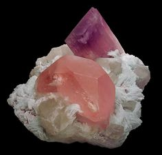 Morganite (pink beryl), and kunzite, Pakistan. (MIM Museum)
