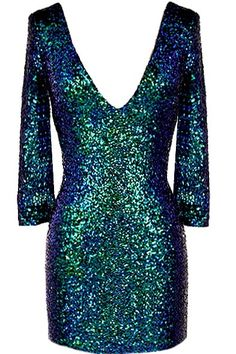 Emerald City Dress: Features a double V-neckline framed by elegant three-quarter length sleeves, mesmerizing iridescent emerald sequins covering the entire dress, and a centered rear zip closure to finish.