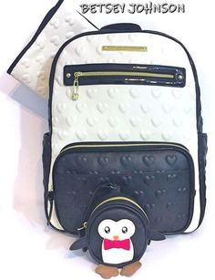 ca396d83fd4b BETSEY JOHNSON Diaper Bag Backpack Tote Baby Shower Penguin Pacifier Case  NWT