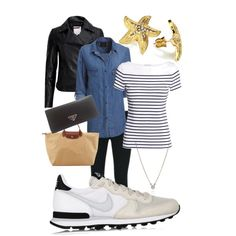 OOTD 2015.4.30 by momoko-kato on Polyvore featuring polyvore, fashion, style, Rails, H&M, Ted Baker, J Brand, NIKE, Prada, Longchamp, CFconcept and ABS by Allen Schwartz