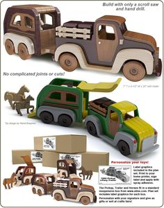 Scroll Saw Magic Pickup and Pony Trailer Wood Toy Plan Set