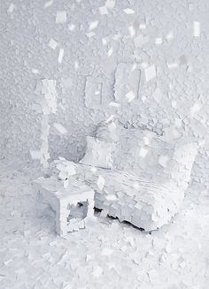 """Winter 1972 by Adrian Merz is an installation of thousands of white post-its that cover a living room, which represent people's personal fragments of memories, stories and notes of that """"Winter Uses Of Paper, Post It Art, Paper Installation, Paper Artwork, Shades Of White, Weird And Wonderful, White Aesthetic, Decoration, Art Pieces"""