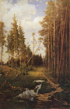 Glade In A Pine Forest 1883 By Savrasov Aleksey, Oil Painting - Art Collection Russian Landscape, Landscape Art, Landscape Paintings, Russian Painting, Russian Art, Painting Art, Wooded Landscaping, Traditional Landscape, Watercolor Trees