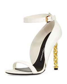 Chain Heel Leather Sandal, Chalk by TOM FORD at Neiman Marcus.