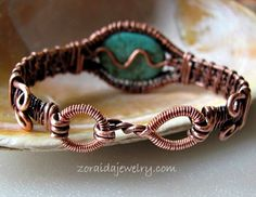 Turquoise Magnasite Copper Wire Woven Bracelet