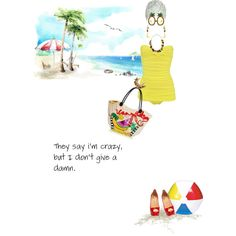 """Chica Chica Boom Chic"" by justagirlfrommo on Polyvore.  This totally reminds me of my mom Katie.  Fun at the beach with her craziness, hats and sunglasses! =) I love my mom!"