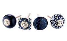 Indigo Blue - Set of 4 Navy &  White Knobs