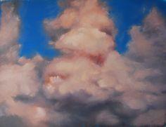 Wolkenlucht, studie in olieverf op papier 50x60, 2014, Marjo Holtland