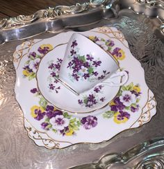 Shabby chic mismatched teacup trio by VintageSowles on Etsy
