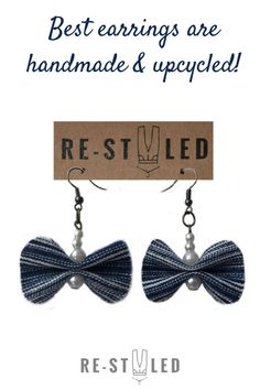 Just like your favourite jeans - they`ll go with everything!   These #denim #earrings are fully #handmade from #upcycled #denim - old #Levi`s jeans and decorated with white #pearl #beads. They are a #perfect addition to any #casual outfit or a #beautiful #club wear. #Tiny but #shiny - they are pierced with stainless steel hooks and are extremely #light-weighted - every item I make is a fruit of passion and imagination! Denim Earrings, Bow Earrings, Etsy Handmade, Handmade Gifts, Handmade Market, Textile Jewelry, Fabric Jewelry, Earrings Handmade, Handmade Jewelry