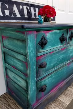 Vintage chest painted with Dixie Belle Paint in mermaid tail and peony Facebook.com/brushedbybrandy