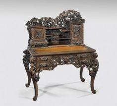 Japanese Art Nouveau Wood Desk On